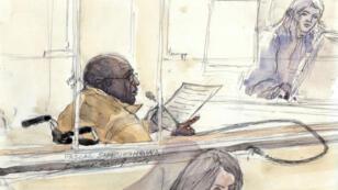 Un croquis de Pascal Simbikangwa réalisé lors de son premier procès en février 2014.