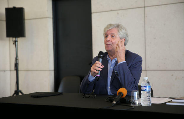 Paris Opera director Stéphane Lissner speaks to the Anglo-American Press before a preview performance of Samson and Delilah on October 1, 2016