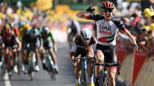 L'Irlandais Dan Martin a remporté la 6e étape du Tour de France à Mûr-de-Bretagne, le 12 juillet 2018.