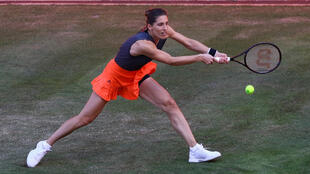 Andrea Petkovic returns the ball on Monday during her 6-4, 6-1 defeat to Petra Kvitova at an exhibition tournament in Berlin
