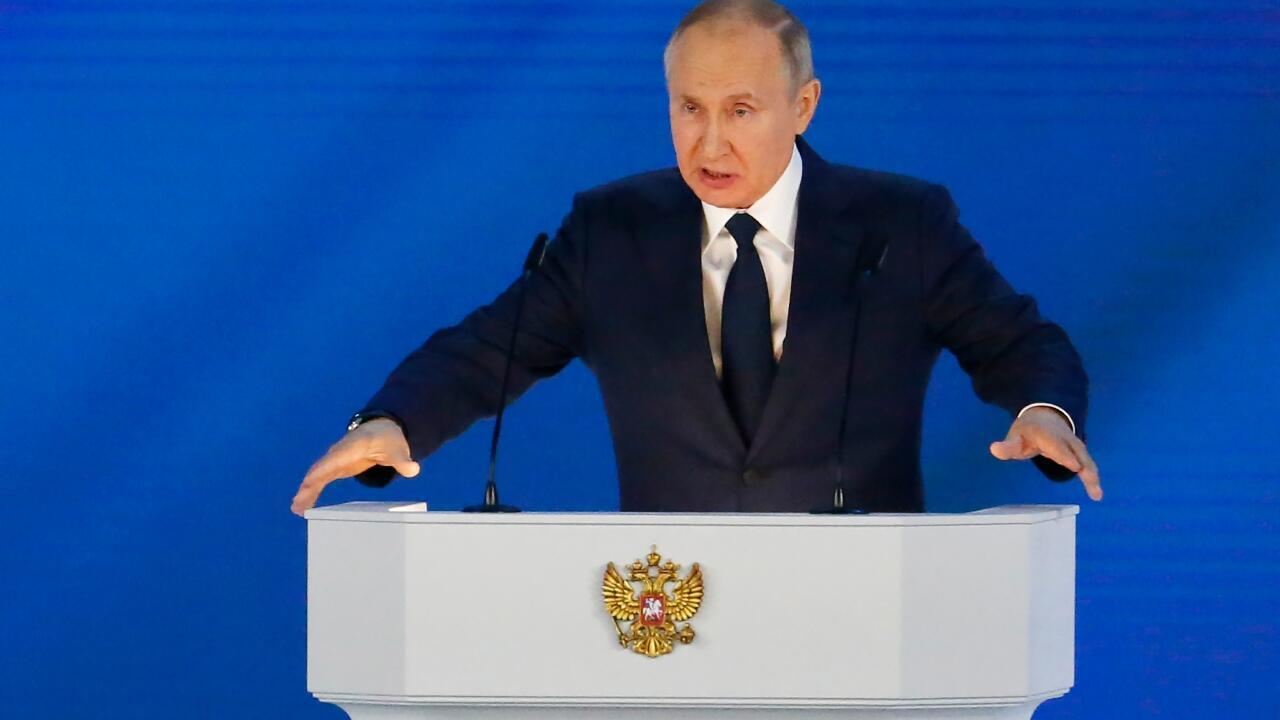 Russian President Vladimir Putin delivers his annual state of the country address to the Federal Assembly amid tensions with the West over the case of opposition Alexei Navalny and the movement of troops to the border with Ukraine as clashes between forces escalate of that country and the pro-Russian rebels in the eastern Donbass region.  Moscow, Russia, April 21, 2021.