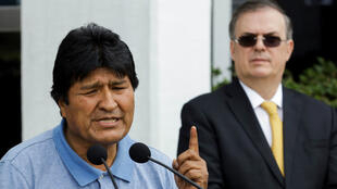 Bolivia's ousted President Evo Morales speaks after his arrival in Mexico City on November 12, 2019.