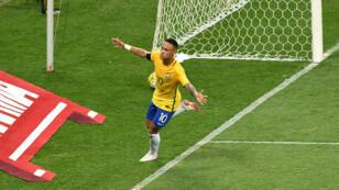 La star brésilienne Neymar, jeudi 10 novembre 2016, après avoir marqué un but face à l'Argentine.