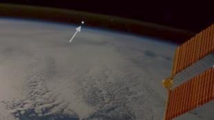 La météorite vue depuis la Station spatiale internationale.