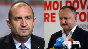 Roumen Radev, président élu de la Bulgarie, et son homologue moldave, Igor Dodon.
