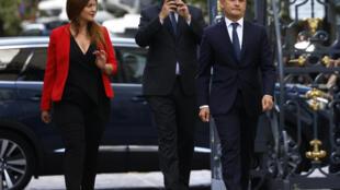 Marlène Schiappa et Gérald Darmanin à leur arrivée Place Beauvau, le 7 juillet 2020