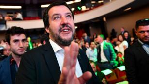 Le ministre de l'Intérieur italien et chef de file du parti d'extrême droite la Ligue, Matteo Salvini à Rome, le 13 juin 2018.