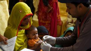 À Rato Dero, dans le sud du Pakistan, un enfant se fait dépister.