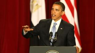 Barack Obama lors de son fameux discours au monde musulman, le 4 juin 2009, à l'université du Caire, en Égypte.