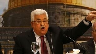 محمود عباس خلال جلسة للمجلس الوطني الفلسطيني في رام الله، 30 نيسان/أبريل 2018