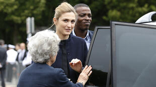 French actress Julie Gayet arrives at the Mont-Valérien to attend a ceremony marking 75 years since General de Gaulle's call to arms.