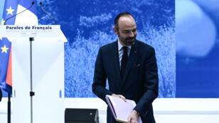 Le Premier ministre, Édouard Philippe, le 8 avril 2019, lors de la restitution du grand débat national au Grand Palais.