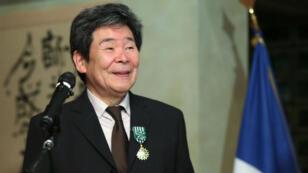 Isao Takahata, le 7 avril 2015 à Paris, lors de la cérémonie où il était fait officier de l'ordre des Arts et des Lettres