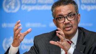 Tedros Adhanom Ghebreyesus, directeur de l'OMS, a donné une conférence de presse, le 11 mars à Genève.