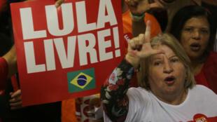 Seguidores asisten al lanzamiento nacional de la precandidatura a la Presidencia de Luiz Inácio Lula da Silva en Contagem, Minas Gerais (Brasil). 8 de junio 2018