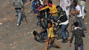 Rival groups engaged in violent clashes over the citizenship law in New Delhi on February 24, 2020.