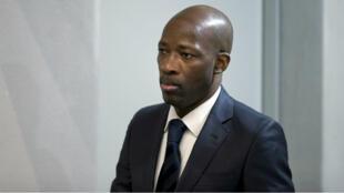 Charles Blé Goudé, le ministre de la Jeunesse de l'ancien président ivoirien Laurent Gbagbo en attendant le début du procès, le 28 janvier 2016 à La Haye, aux Pays-Bas.