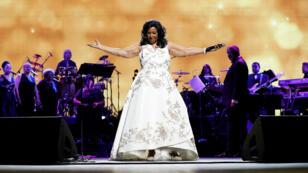 Aretha Franklin lors de l'ouverture du festival du film de Tribeca, le 19 avril 2017, à New York.