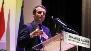 Emmanuel Macron s'adressant aux étudiants de l'École supérieure des affaires, à Beyrouth, le 23 janvier.
