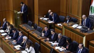 Le Premier ministre Hassan Diab s'adressant au Parlement libanais, le 11 février 2020 à Beyrouth.