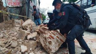 Les dégâts causés par le séisme à Oaxaca, au Mexique, le 23 juin 2020.