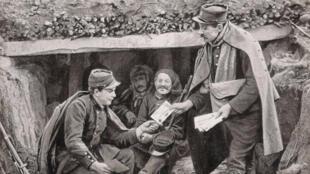 """""""L'heure du vaguemestre"""", carte postale de 1914."""