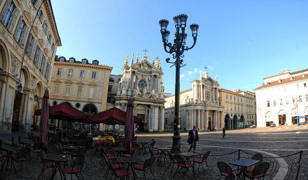 Piazza San Carlo, in Turin's stylish city centre.