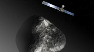 Une représentation de la sonde européenne Rosetta dans l'orbite de la comète Tchouri, le 3 décembre 2012.