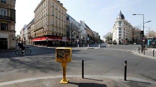 File photo taken March 27, 2020 shows the deserted Grands Boulevards in Paris during lockdown.