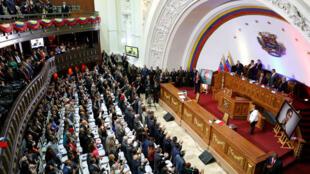 El presidente de Venezuela, Nicolás Maduro, participa en una sesión especial de la Asamblea Nacional Constituyente, el 14 de enero de 2019.
