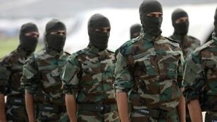 The Jaysh al-Izza rebel group in Syria (fighters pictured April 2018) has rejected a deal for a demilitarised zone between rebel and regime-held areas in and around the northwestern governorate