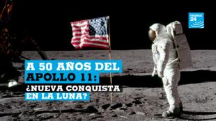 El astronauta Buzz Aldrin, piloto del módulo lunar del Apolo 11, posa para una fotografía, junto a la bandera de Estados Unidos desplegada durante una actividad extravehicular (EVA) en la Luna, el 20 de julio de 1969.