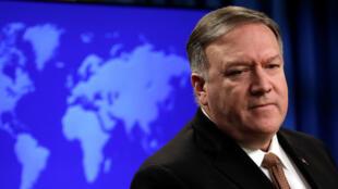 El secretario de Estado de los EE. UU., Mike Pompeo, durante una sesión informativa sobre Irán en el Departamento de Estado en Washington D. C., el 8 de abril de 2019.