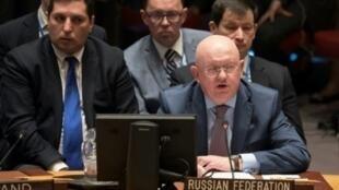 السفير الروسي لدى منظمة الأمم المتحدة فاسيلي نيبنزيا في نيويورك. 9 نيسان/أبريل 2018.
