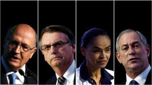 Una combinación de imágenes muestra a los candidatos presidenciales Geraldo Alckmin, Marina Silva, Jair Bolsonaro y Ciro Gomes, respectivamente, de los archivos de Reuters.