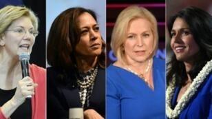 الديمقراطيات اللواتي أعلن ترشيحهن للبيت الأبيض إليزابيث وارن وكامالا هاريس وكيرستن غيليبراند وتالسي غابرد (من اليسار إلى اليمين)