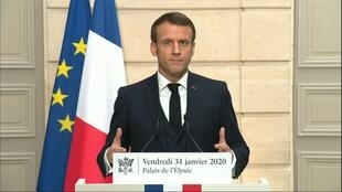 French President Emmanuel Macron delivering a speech on Brexit and the European Union to France, at the Élysée Palace, Paris, January 31, 2020.