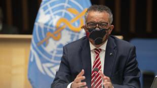 Le chef de l'OMS Tedros Adhanom Ghebreyesus, le 5 octobre 2020 à Genève