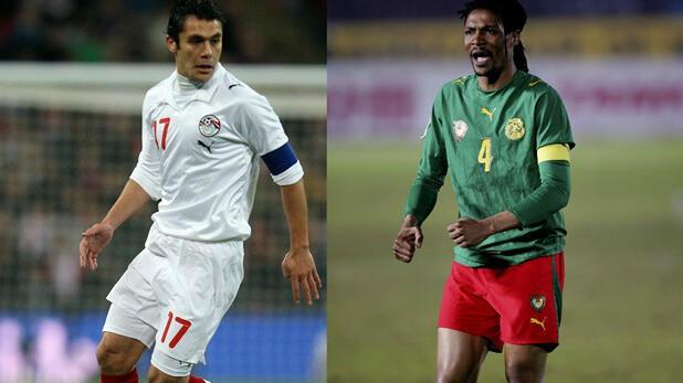 El egipcio Ahmed Hassan y el camerunés Rigobert Song, los dos jugadores más activos en la Copa Africana de Naciones.