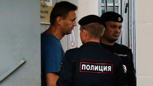 Alexeï Navalny au poste de police, le 25 juillet 2018 à Moscou.