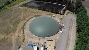 An aerial view of a biogas plant that turns animal manure into electricity in Chile, which plans to switch entirely to renewable energy by 2040
