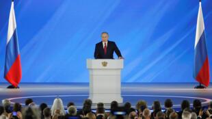 Le président russe Vladimir Poutine lors de son allocution annuelle au Parlement et aux élites politiques, le 15 janvier 2020, à Moscou.