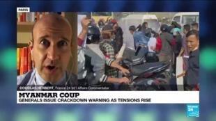 2021-02-08 13:01 Myanmar coup: General issue crackdown warnings as tension rise