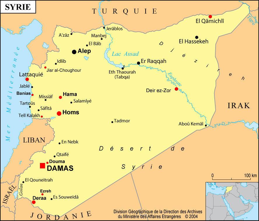 Les villes syriennes où ont eu lieu des manifestations