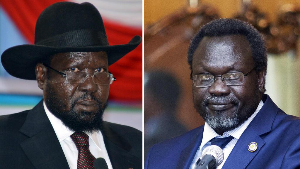 Fotmontaje del presidente de Sudán del Sur, Salva Kiir, y su rival político y actual vicepresidente, Reik Machar