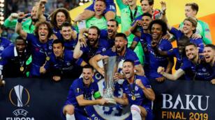 Los jugadores del Chelsea festejan el título de la UEFA Europa League en el estadio Olímpico de Bakú, Azeirbayán, el 29 de mayo de 2019.