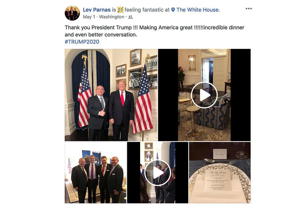 Publicación del Facebook de Lev Parnas, en la que se ven fotografías de una cena entre el detenido y Donald Trump.