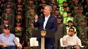El presidente de Colombia, Iván Duque, da un discurso sobre su nueva política de seguridad y defensa el 6 de febrero de 2019.