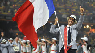 Tony Estanguet, le 8 août 2008, lors de la cérémonie d'ouverture des Jeux olympiques de Pékin.
