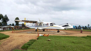 A Dornier 228-200 plane operated by local company Busy Bee is seen at the Goma International airport in Goma, Eastern Democratic Republic of Congo in this picture taken March 24, 2019.